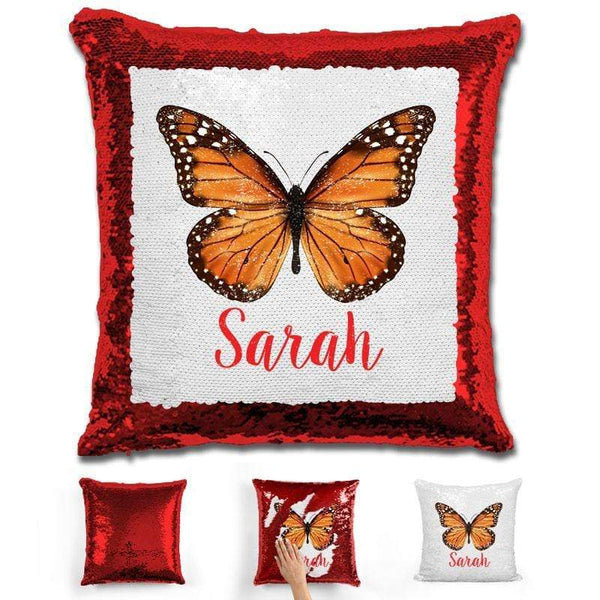 Butterfly Personalized Magic Sequin Pillow Pillow GLAM Red