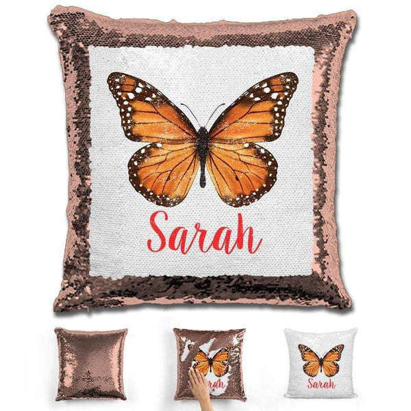 Butterfly Personalized Magic Sequin Pillow Pillow GLAM Rose Gold