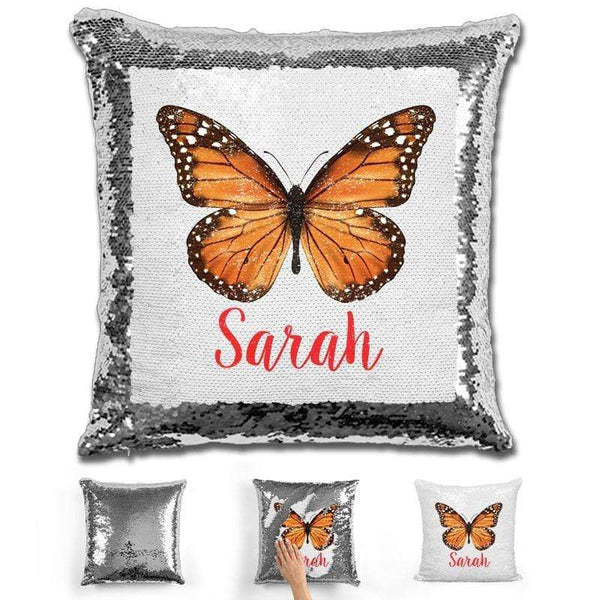Butterfly Personalized Magic Sequin Pillow Pillow GLAM Silver