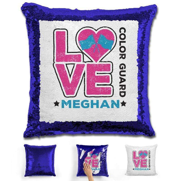Personalized LOVE Color Guard Magic Sequin Pillow Pillow GLAM Blue Pink