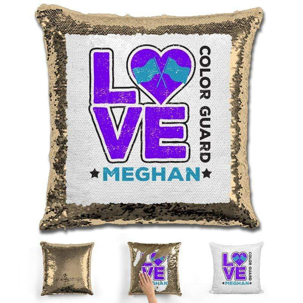Personalized LOVE Color Guard Magic Sequin Pillow Pillow GLAM Gold Purple