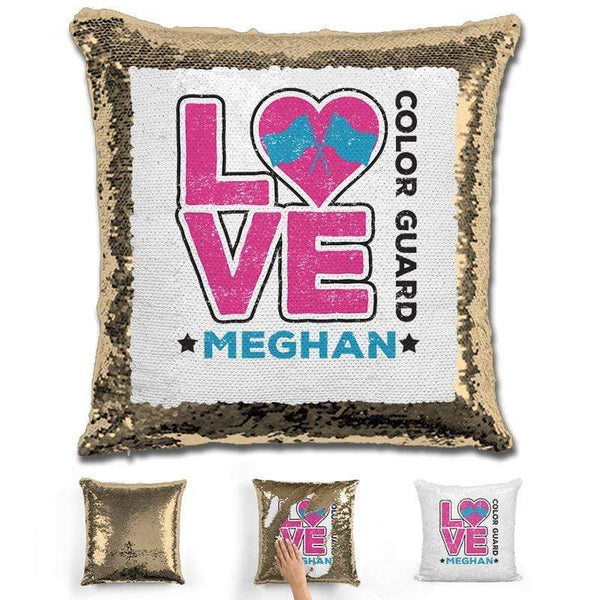 Personalized LOVE Color Guard Magic Sequin Pillow Pillow GLAM Gold Pink