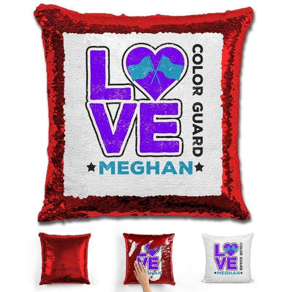 Personalized LOVE Color Guard Magic Sequin Pillow Pillow GLAM Red Purple