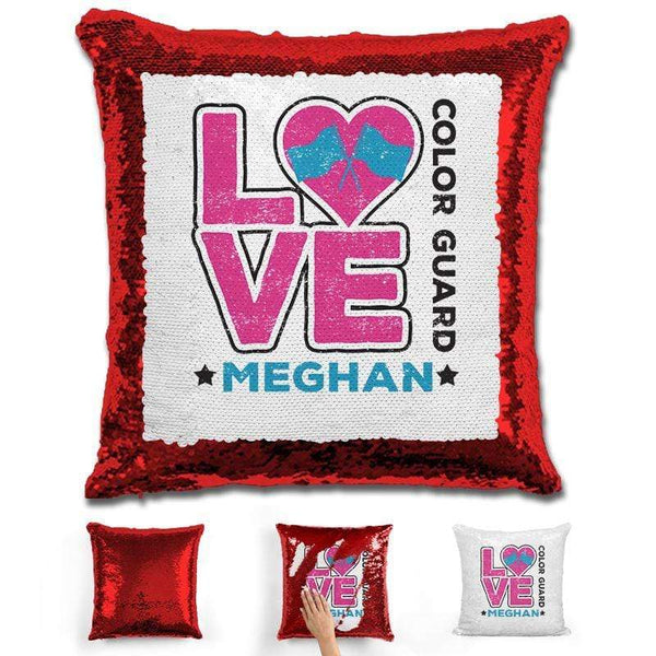 Personalized LOVE Color Guard Magic Sequin Pillow Pillow GLAM Red Pink