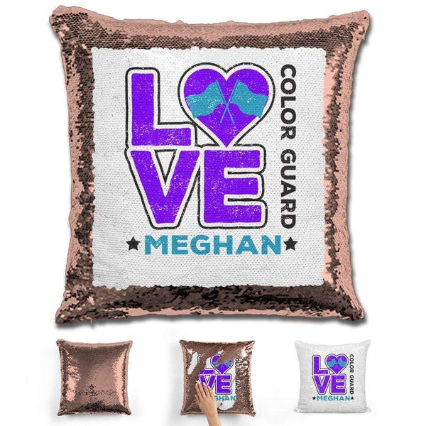 Personalized LOVE Color Guard Magic Sequin Pillow Pillow GLAM Rose Gold Purple