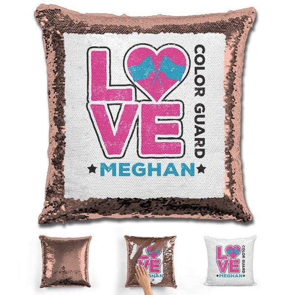 Personalized LOVE Color Guard Magic Sequin Pillow Pillow GLAM Rose Gold Pink