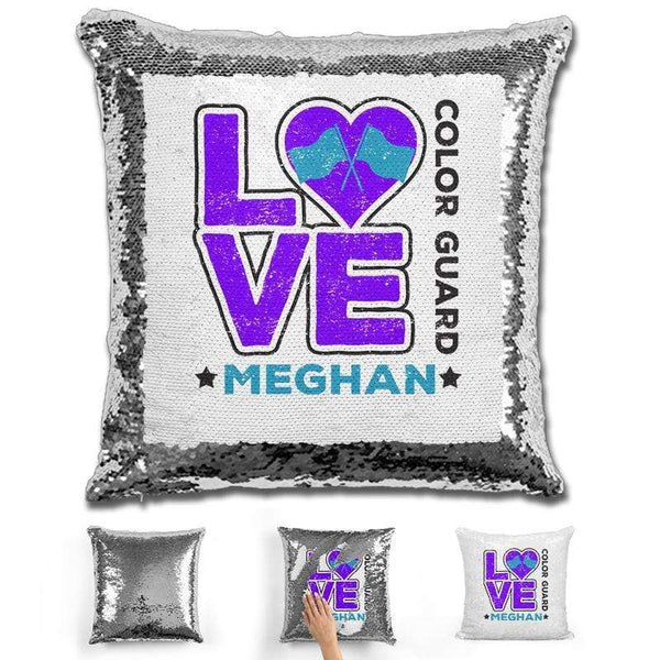 Personalized LOVE Color Guard Magic Sequin Pillow Pillow GLAM Silver Purple