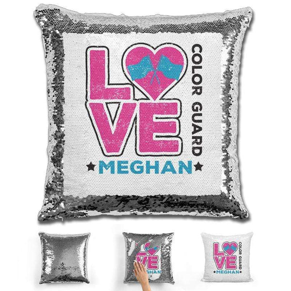 Personalized LOVE Color Guard Magic Sequin Pillow Pillow GLAM Silver Pink