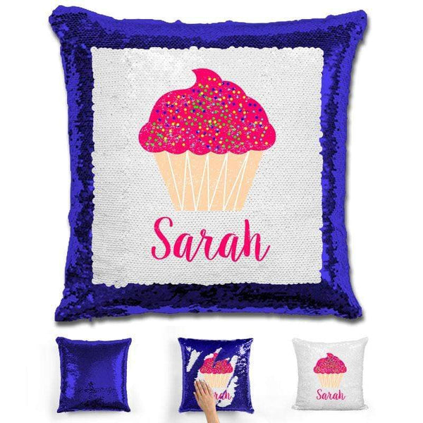Cupcake Personalized Magic Sequin Pillow Pillow GLAM Blue