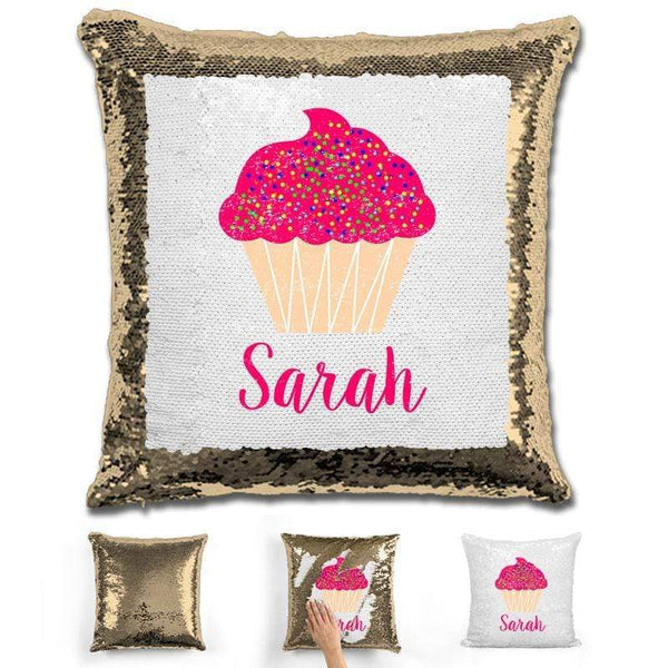Cupcake Personalized Magic Sequin Pillow Pillow GLAM Gold
