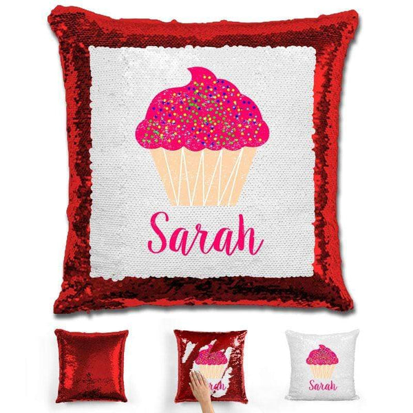 Cupcake Personalized Magic Sequin Pillow Pillow GLAM Red