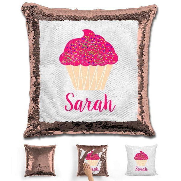 Cupcake Personalized Magic Sequin Pillow Pillow GLAM Rose Gold