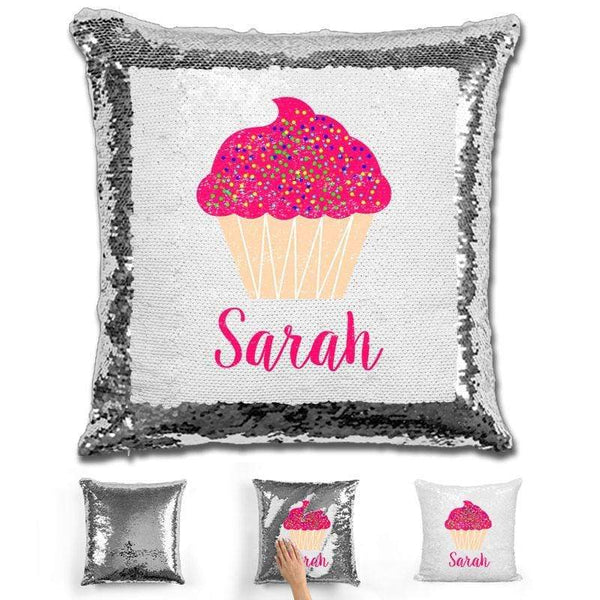 Cupcake Personalized Magic Sequin Pillow Pillow GLAM SIlver