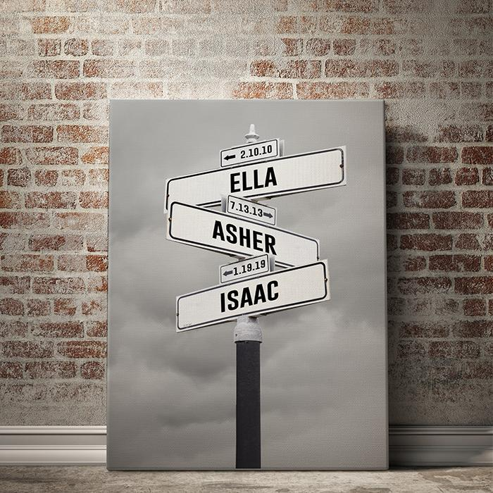 Custom Kid Birth Date + Name Personalized Street Sign Canvas Wall Art with Black and White Clouds or Tree Background. Unique Mother's Day Canvas Personalized Artwork for Mom  Custom canvas street sign art with family's birth dates and names on our premium multi-name canvas print is the best mother's day present ever!  Customize your Mother's Day Personalized Canvas Wall Art Street Name Sign Background with up to 7 family names and birthdates.