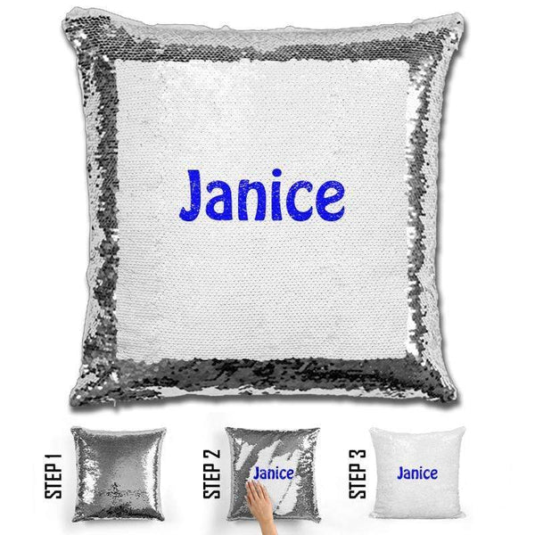 Custom Name Personalized Magic Sequin Pillow Pillow GLAM Silver Blue