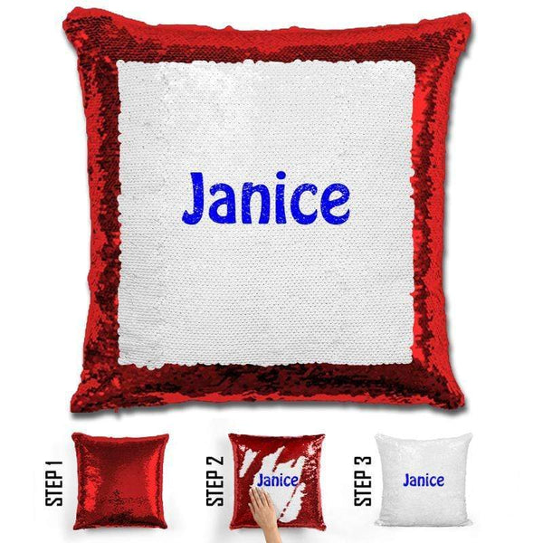 Custom Name Personalized Magic Sequin Pillow Pillow GLAM Red Blue