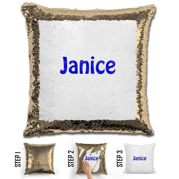 Custom Name Personalized Magic Sequin Pillow Pillow GLAM Gold Blue
