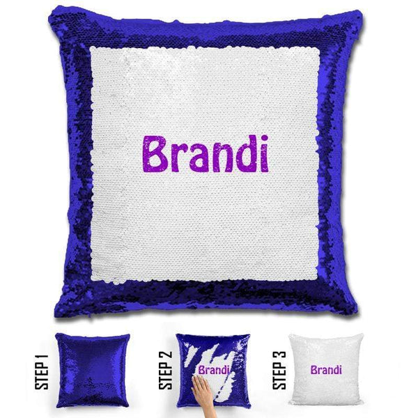 Custom Name Personalized Magic Sequin Pillow Pillow GLAM Blue Purple