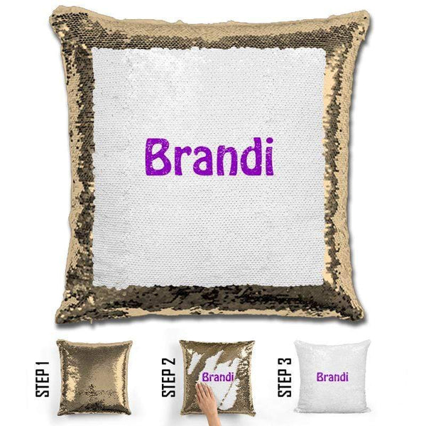 Custom Name Personalized Magic Sequin Pillow Pillow GLAM Gold Purple