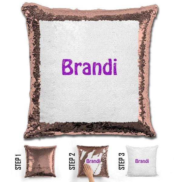 Custom Name Personalized Magic Sequin Pillow Pillow GLAM Rose Gold Purple