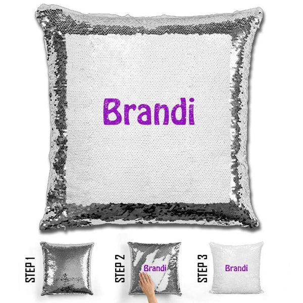 Custom Name Personalized Magic Sequin Pillow Pillow GLAM Silver Purple