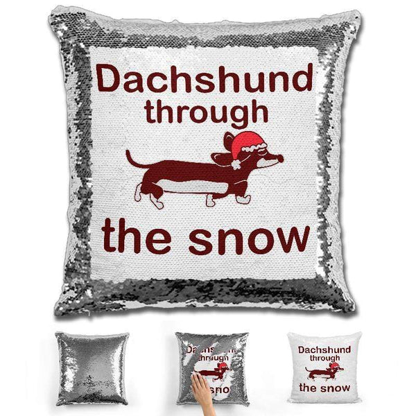 Dachshund Through The Snow Magic Sequin Pillow Pillow GLAM