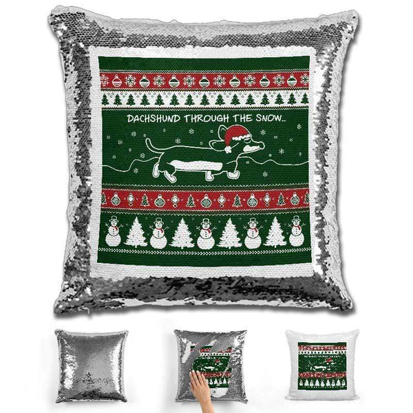 Dachshund Through The Snow Christmas Flip Sequin Pillow Pillow GLAM