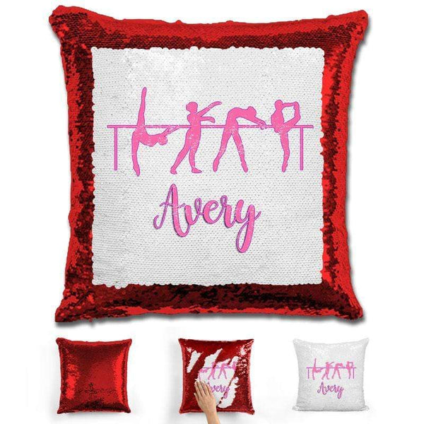 Dance Personalized Magic Sequin Pillow Pillow GLAM Red