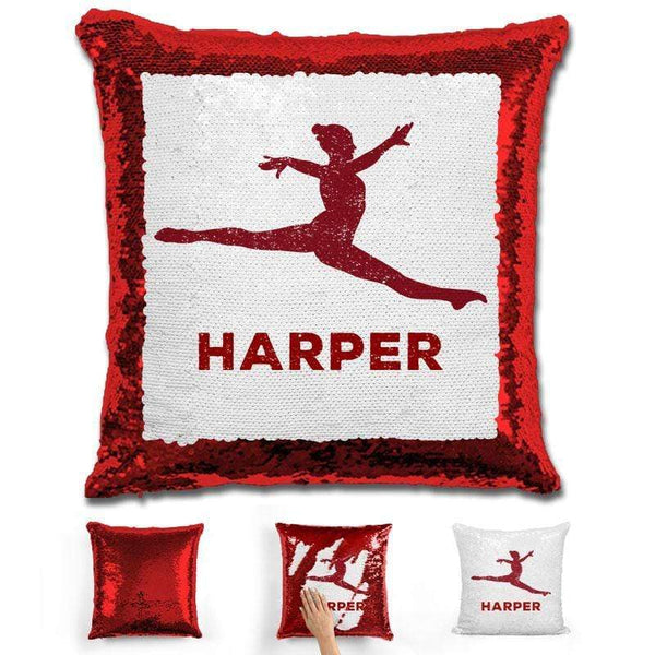 Dancer Personalized Magic Sequin Pillow Pillow GLAM Red