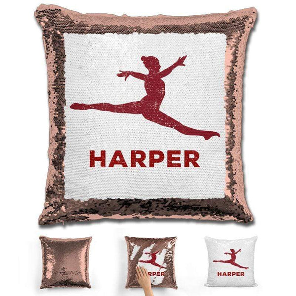 Dancer Personalized Magic Sequin Pillow Pillow GLAM Rose Gold