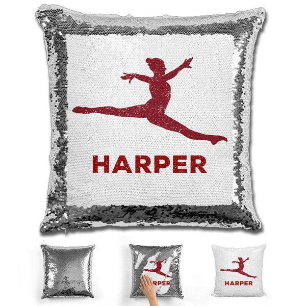 Dancer Personalized Magic Sequin Pillow Pillow GLAM Silver