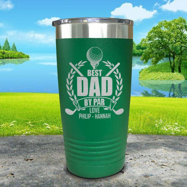 CUSTOM Best Dad By Par Engraved Tumblers Tumbler ZLAZER 20oz Tumbler Green