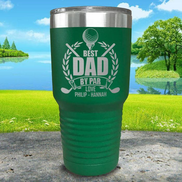 CUSTOM Best Dad By Par Engraved Tumblers Tumbler ZLAZER 30oz Tumbler Green