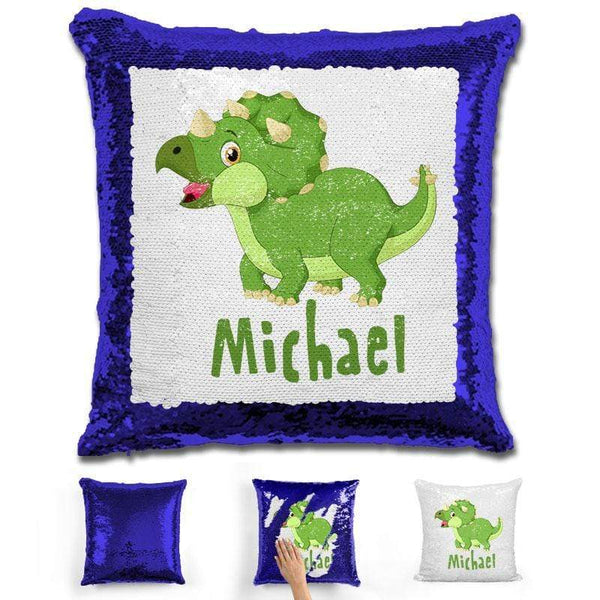 Dinosaur Personalized Magic Sequin Pillow Pillow GLAM Blue