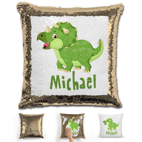 Dinosaur Personalized Magic Sequin Pillow Pillow GLAM Gold
