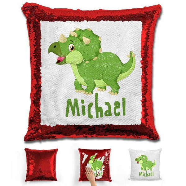 Dinosaur Personalized Magic Sequin Pillow Pillow GLAM Red