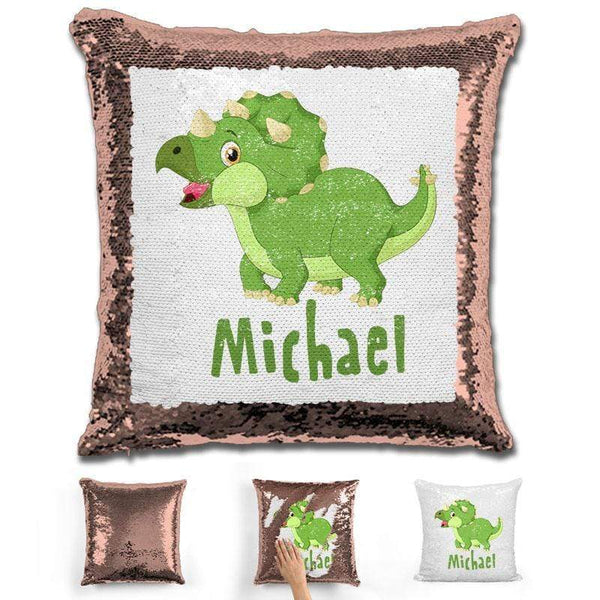 Dinosaur Personalized Magic Sequin Pillow Pillow GLAM Rose Gold