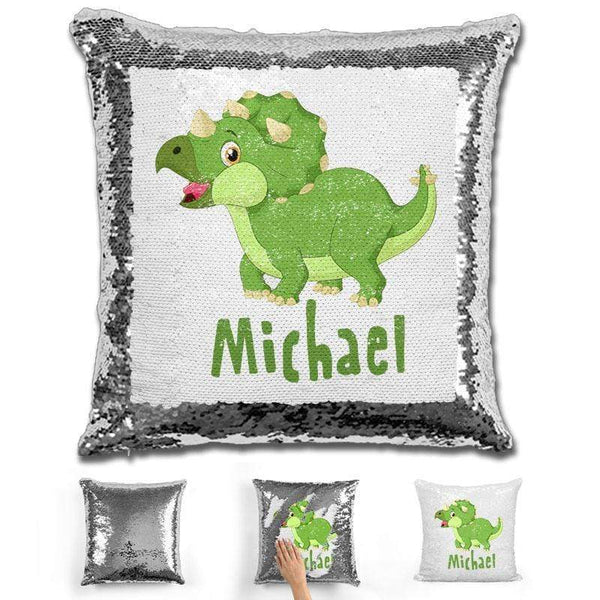 Dinosaur Personalized Magic Sequin Pillow Pillow GLAM Silver