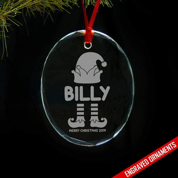 Elf Kids PERSONALIZED Engraved Glass Ornament ZLAZER Oval Ornament