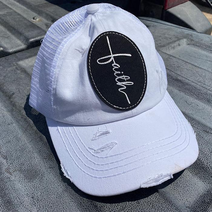 Faith Leather Patch High Ponytail Premium Hat