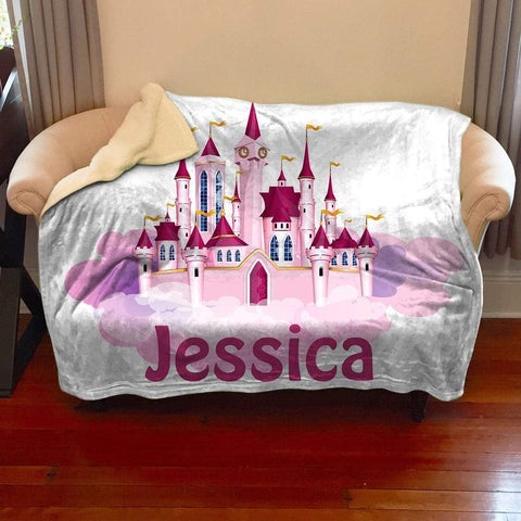 Princess Castle Personalized Sherpa Blanket Blankets Lemons Are Blue