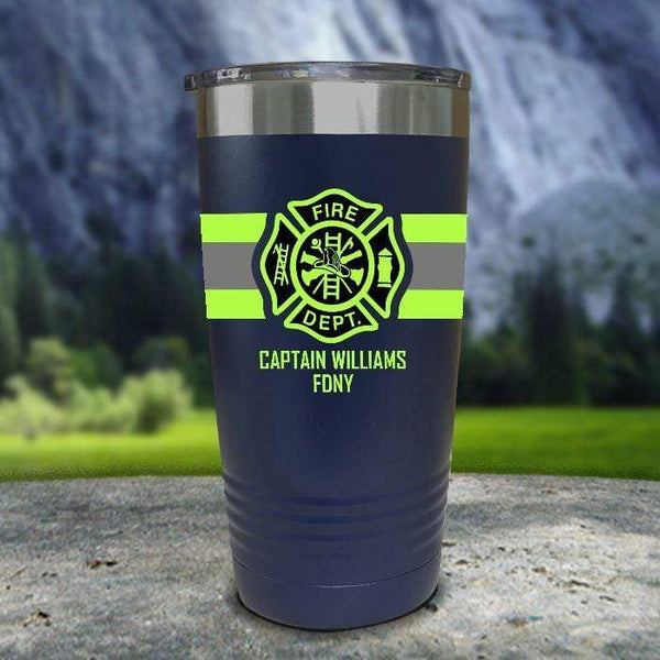 Personalized Firefighter FULL Wrap Color Printed Tumblers Tumbler Nocturnal Coatings 20oz Tumbler Navy