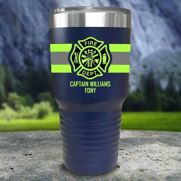Personalized Firefighter FULL Wrap Color Printed Tumblers Tumbler Nocturnal Coatings 30oz Tumbler Navy