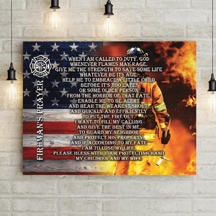 Fireman's Prayer wood American flag canvas with maltese cross is the perfect gift for new fire fitgher or firefighter promotion or retirement gift.