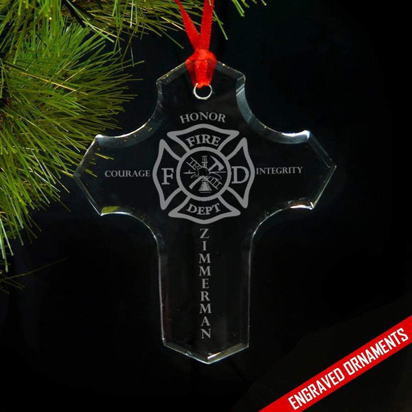 Firefighter PERSONALIZED Cross Premium Engraved Glass Ornament ZLAZER Cross Ornament