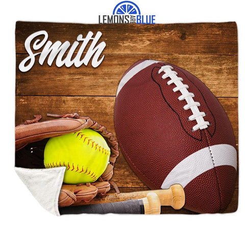 "Softball Football Personalized Sherpa Blanket Blankets Lemons Are Blue 50""x60"""