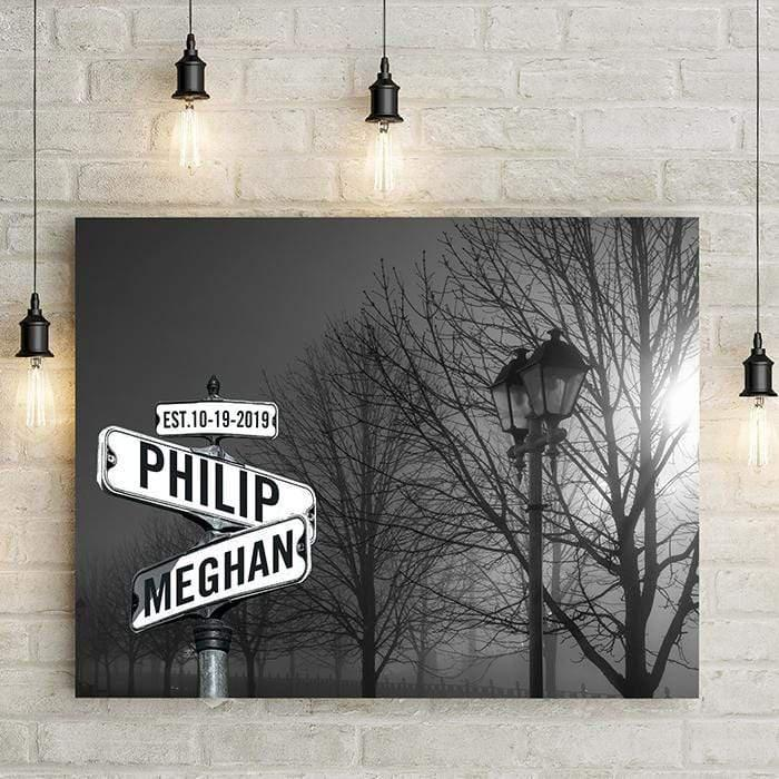 Personalized Street Sign with Names in foggy park with lamp post and winter trees. Canvas home decor is perfect artwork for living room or bedroom, and makes a unique personalized wedding gift. LemonsAreBlue Lemons Are Blue Brand