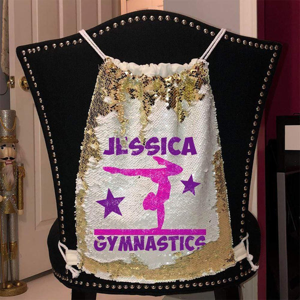 Personalized Gymnastics Magic Sequin Backpacks Sequin Backpack BLINGZ Gold