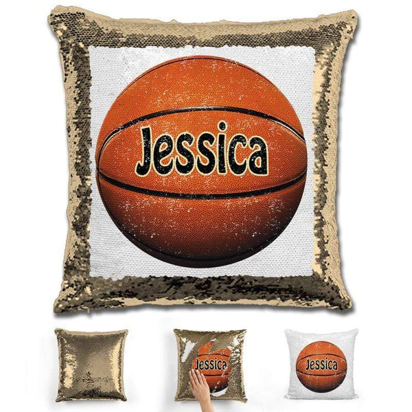 Basketball Personalized Magic Sequin Pillow Pillow GLAM Gold
