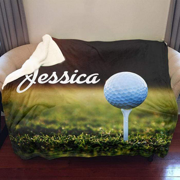 Golf Personalized Sherpa Blanket Blankets Lemons Are Blue 50x60